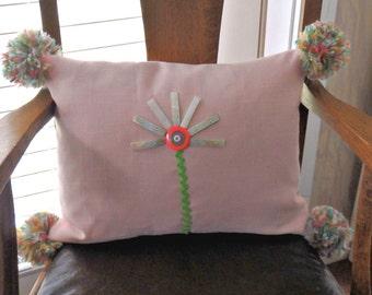 Pink Linen Pillow, Bohemian Button Flower Design Pillow, Bright Boho Pillow, Pom Pom Pillow