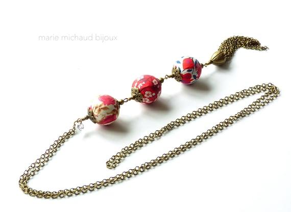 Liberty necklace,Tassel necklace,Long boho necklace,Liberty jewelry,Red necklace,Long tassel necklace,Original textile necklace