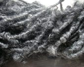 Handspun Lockspun Bulky Gotland Wool Yarn in Natural Colors of Charcoal Grey by KnoxFarmFiber for Knit Felt Weave