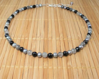 Black Gray Necklace  Gray Pearl Necklace Black Gemstone Freshwater Pearls 16 inch Pearl Necklace Fancy Agate Black Gray White, Bridal