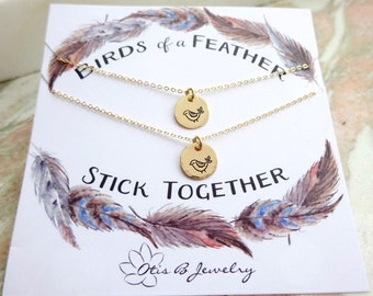 Set of TWO matching friendship necklaces, best friends gift, BFF, Birds of a feather, bridesmaid gifts, cousins, girl squad charm necklaces