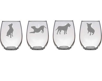 Set of 4 Pit Bull Wine Glasses,4 Dog Poses, Etched American Staffordshire Terrier Wine Glasses,Pit Bull Lover Gift,Pit Bull Barware,Pit Bull