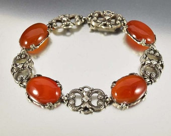 Italian Silver Carnelian Bracelet, Art Deco Bracelet, 1920s Antique Jewelry, Silver Filigree Chalcedony Gemstone Bridal Bracelet