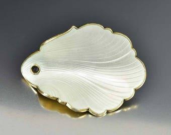 Norwegian Silver Enamel Brooch Pin, Modernist Sterling Silver White Enamel Flower Petal, Gold Vermeil Vintage Hans Myre Norwegian Jewelry
