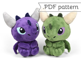 Dragon Sitting with Horns Tail Spikes Plush Sewing Pattern .pdf Tutorial