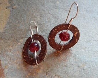 Coconut Shell Earrings, circular coconut shells, center reddish bead, lightweight earring, brown and red earring, natural earring