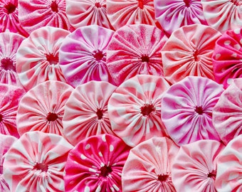 Fabric Flower Wedding Yo Yo 50 PINK Rose 1 1/2 Inch Birthday Headband Barrette Hair Clip Trim Applique