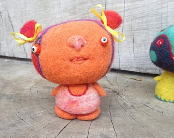 OOAK Needle felted Orange Girl Toy Shelf Sitter Ready to Ship
