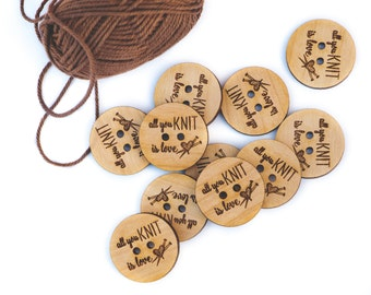 Knitting Buttons, Gift for Crafty Person, Wooden Buttons,  Sewing Notions