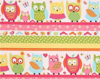 206266 stripe pink yellow owl insect flower fabric Whooo Loves You