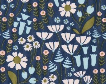 206872 navy blue 'Floratopia' colorful flower Cloud 9 organic corduroy fabric