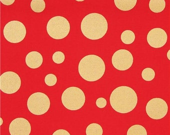 209222 red Michael Miller fabric Lolli Dot with shiny gold dots