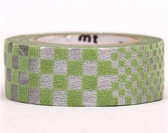 187768 metallic-green checked mt fab Washi Masking Tape deco tape