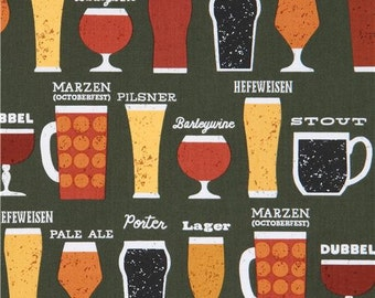 213162 dark green Robert Kaufman fabric beer  alcohol Cheers