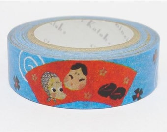 210711 blue with toy face swirl Washi Masking Tape deco tape Shinzi Katoh