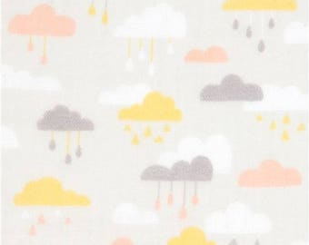 214857 pale grey double gauze fabric cute cloud from Japan