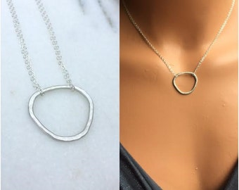 Sterling Silver Pebble Necklace, Freeform Sterling Circle Necklace, Statement Necklace, Abstract Necklace, Simple Organic
