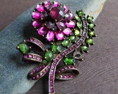 Vintage Hot Pink Green Purple Glass Flower Brooch, Jewel Tone Rhinestone Flower Pin, Multicolor Rhinestone Flower Pin, Flower Leaf Brooch