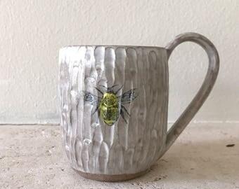 Hand carved bee mug