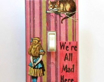 Selection of Alice striped Switchplates w/ MATCHING SCREWS- Alice art plate Wonderland bedroom wall decor Wonderland bedroom wall decoration