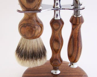 Chechen Wood 24mm Super Silvertip Shaving Brush and Fusion Flexball Razor Gift Set (Handmade in USA)  C2  Anniversary Gift - Men's Gift