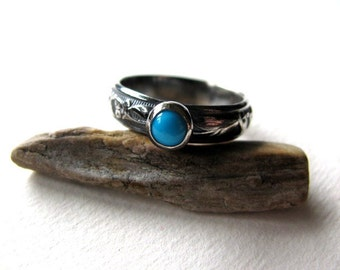 Natural Turquoise Ring, Sterling Silver Ring, Patterned Ring Band, Stacking Ring, Handmade Blue Ring, Gemstone Ring Size 6.5