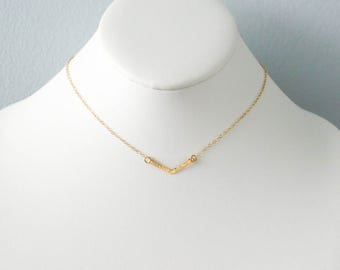 Simple Chevron Necklace, Handmade, Flat, Dainty, Layering, Sterling Silver, 14k Gold Filled, Simply Me Jewelry Chevron Necklace, SMJNK410