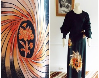 European vintage 1970s black batwing sleeve maxi dress / 70s boho long dress / 70s evening party starburst gown