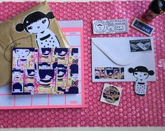 kawaii kokeshi card