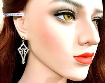 Art Deco Bridal Earrings, Gatsby Wedding Earrings, Geometric Earrings, Swarovski Crystal Earrings, Wedding Jewelry, Bridal Jewelry, ARI