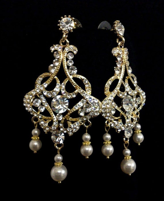 Chandelier Bridal Earrings, Statement Earrings, Art Deco Wedding Jewelry, Swarovski Bridal Jewelry, Crystal Dangle Earrings, CHANTELLES