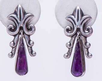 Mexican Amethyst Earrings - Vintage Sterling Screw Backs - 40s Mexico