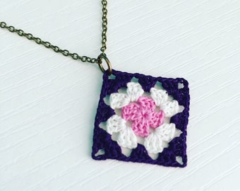 Lincoln Square Crochet Necklace in Eggplant / White / Shell Pink, Granny Square Pendant, Spring Fashion, Boho Style, Gift Under 50