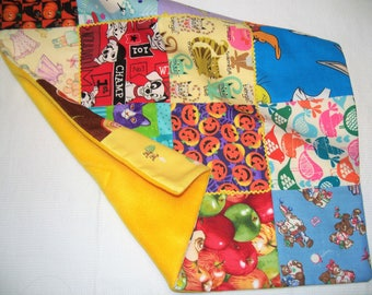 I Spy Patchwork Lovey Blanket, Quilt, Baby Blanket, Crib Quilt, Fleece Back Quilt, Made in America