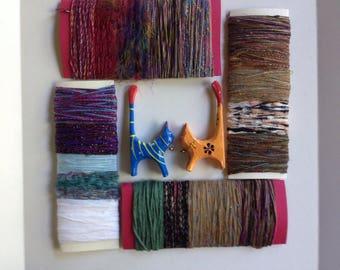Art yarn bundle sample destash, scrapbooking fiber bundle red blue green purple brown variety pack novelty yarn lot 987 Life's an Expedition