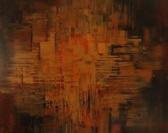 Dark woodsy giclee print on CANVAS of original painting FIG FLOORBOARDS by Tatiana Iliina