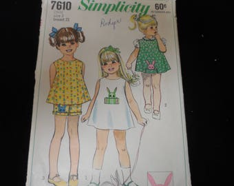 Simplicity 7610 Girls Dress, Top and Shorts Pattern Size 2 Toddler Pattern
