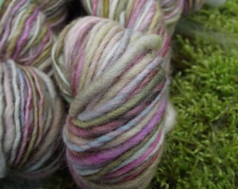 Handspun yarn, handpainted Polwarth wool yarn, worsted weight thick and thin yarn, multiple skeins available-Unicorn Dream