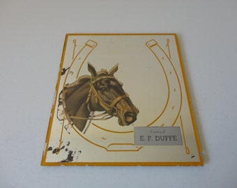 VINTAGE reverse art HORSE horseshoe advertising MIRROR