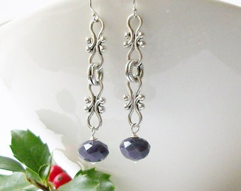 Dark Purple Chain Dangle Earrings