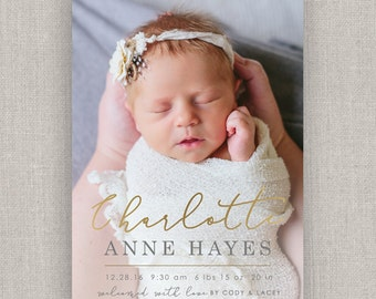 Baby Girl Birth Announcement - Charlotte
