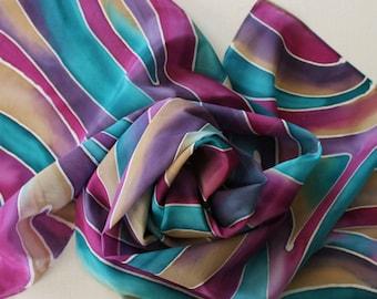 Hand Painted Silk Scarf - Handpainted Scarves Teal Green Blue Turquoise Dark Wine Pink Magenta Purple Eggplant Tan Cream Jewel