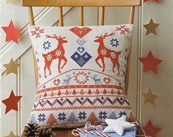 Cross stitch pattern FAIRISLE STAGS - christmas pillow,scandinavian,cross stitch,needlepoint,embroidery,cushion,holliday,anette eriksson,diy