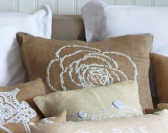 Needlepoint kit ROSE,handmade,burlap,hessian,scandinavian,cross stitch,needlepoint,embroidery,throw pillow,cushion,diy,linen,anette eriksson
