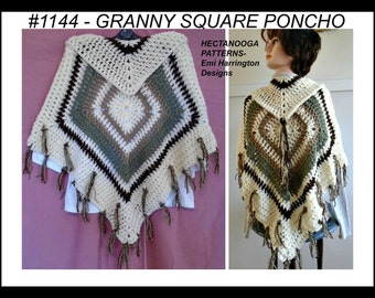 crochet poncho pattern, instant download, granny square poncho, cape, women, teens, #1144 , crochet supplies, women & teen clothing,
