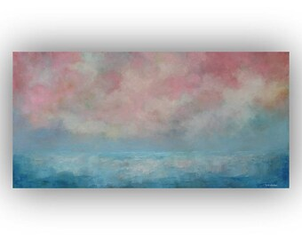 Pink and blue Abstract Seascape Painting- Ocean Sky and Clouds Oil Painting- Original 15 x 30 Palette Knife Art on Canvas