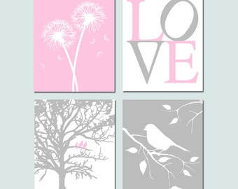 Pink and Grey Nursery Art Girl Pink and Gray Nursery Decor - Love, Birds in a Tree, Dandelions, Bird on a Branch - Set of 4 Prints