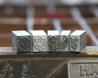 Metal Print BLOCKS (5)  Printer's Tray VINTAGE- Typography- Industrial Printing Press- Metal Block Lot-Flower Plant Nature Snowflake- A8