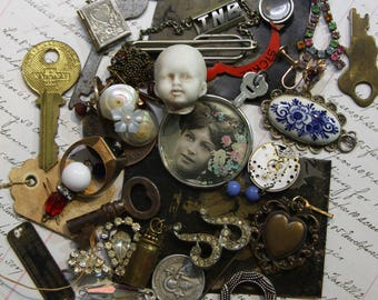 Vintage Assemblage Lot-  Tin Type- Keys Pendant- Rhinestone- Optical Lens- Doll Head- Found Object Lot