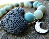 Amazonite Gemstone Bracelet. Diffuser Bracelet. Essential Oil Bracelet. Lava Bead. Heart. Charm Bracelet. Moon Charm. Stretch Bracelet.